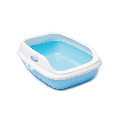 MH Haustiertoilette Haustier-WC, halbgeschlossene Katze WC-Hund liefert Urinal-Becken einfach zu reinigen, schäbige Bedpan Katze Katzenstreu Heimtierbedarf (Color : Blue, Size : 57.5 * 44 * 19 cm)