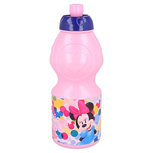 MINNIE MOUSE | Botella de Agua Infantil con cierre antifugas | Cantimplora Reutilizable para niños con tapón anti goteo - Libre de BPA - 400 ML
