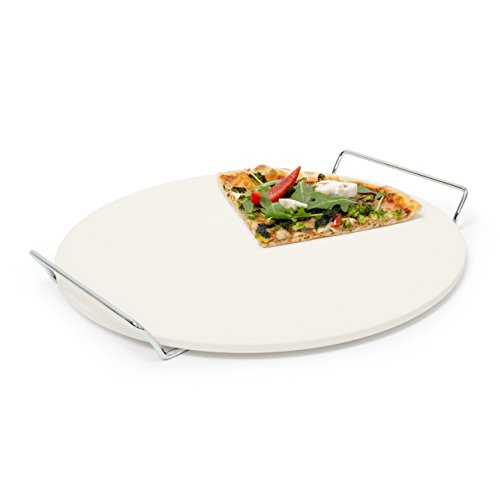 Relaxdays Pizzastein mit Halter, runde Steinplatte für Pizza & Flammkuchen, Grillstein aus Cordierit, 33 cm Ø, beige