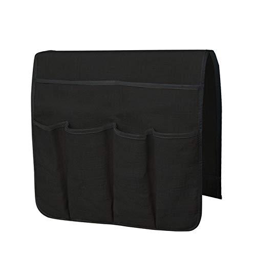 CNmuca Organizador de sofá grande Suporte de controle remoto para TV Sofá antiderrapante Bolsa de armazenamento com 6 bolsos Bolsa de armazenamento preta