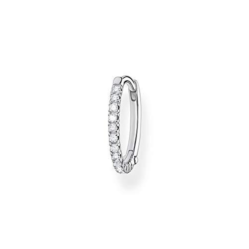 Thomas Sabo Pendientes de aro individuales para mujer con piedras blancas de plata de ley 925, cierre de clip