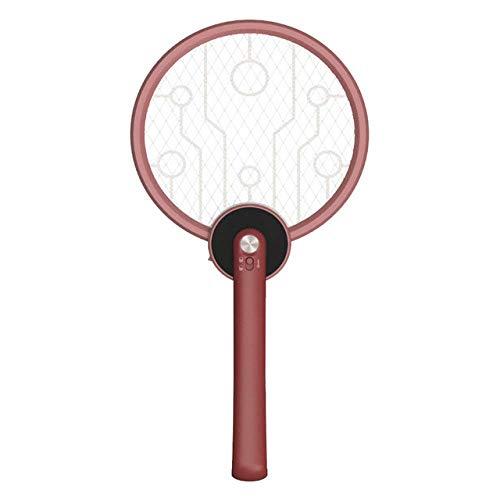 Scacciamosche Elettrico 2 in 1 Elettrico Mosquito Swatter Pieghevole Portatile da Campeggio all'aperto Controllo degli Insetti Volare casa Camera da Letto Silenzioso Cordless Killer l rosso mattone