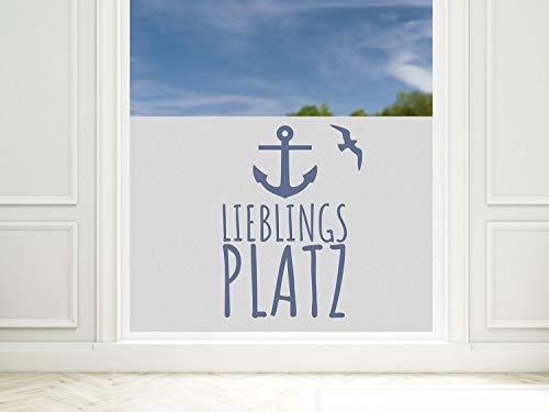 GRAZDesign Fensterfolie Bad Anker Lieblingsplatz maritim, Sichtschutzfolie für Fenster, Dusche, Glas / 80x57cm