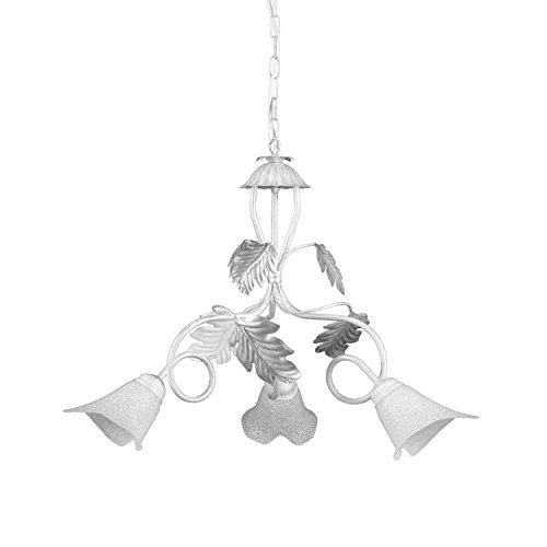 lampadario 3 luci bianco ONLI - Lampadario 3 luci Marilena in metallo bianco spennellato argento. Paralumi in vetro bianco. Prodotto lavorato a mano in Italia. Ø 40cm x h 110cm