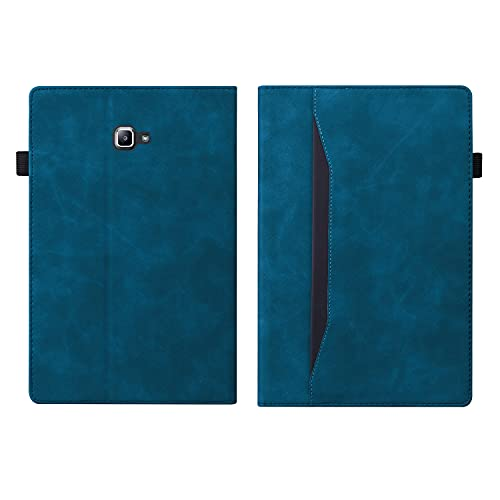 "ONETHEFULCustodiaLibroCoverperSamsung Galaxy Tab A / A6 10.1"" 2016 T580 T585TabletCustodieProtettivaTasca Documenti CoversconStandePUPelle-blu pavone"