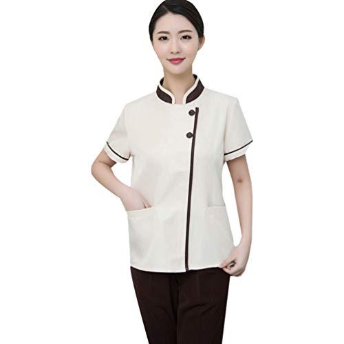 WanYangg Unisex Hotel Berufsbekleidung Atmungsaktiv Kellner uniform mit verdeckten Druckknöpfen Kurzarm Sommer 7#Beige XXXXXL