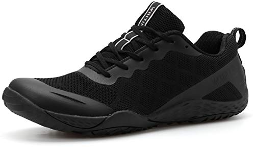 WHITIN Men's Trail Running Shoes Minimalist Barefoot 5 Five Fingers Wide Width Size 10.5-11 Toe Box Gym Workout Fitness Low Zero Drop Male Sneakers Treadmill Free Athletic Ultra Black 44