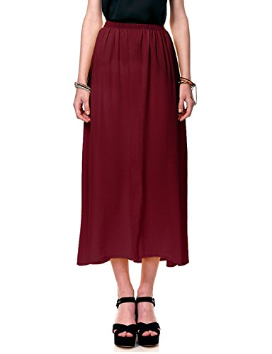 Regna X Boho for Women's Casual Stylish Lightweight Wine 3XL Plus Maternity Tall Full Long Chiffon Dress Skirt