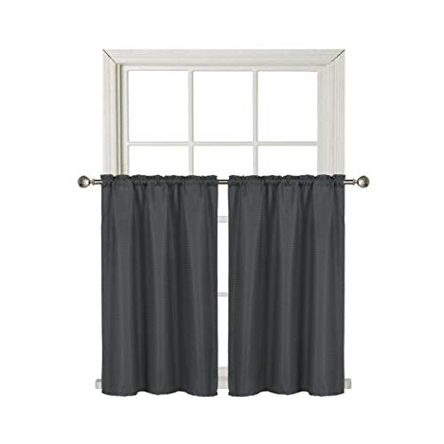 Home Queen Waterproof Bathroom Tier Curtains, Rod Pocket Waffle Room Darkening Curtains for Kitchen Window, 2 Panels, 36 W X 45 L Inch Each, Solid Charcoal