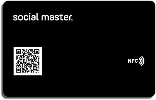 Social Master Digital Business Card Plastic Wallet Sized NFC Tag for Instant Contact and Social Media Sharing No App Required No Fees iOS and Android Compatible (Black)