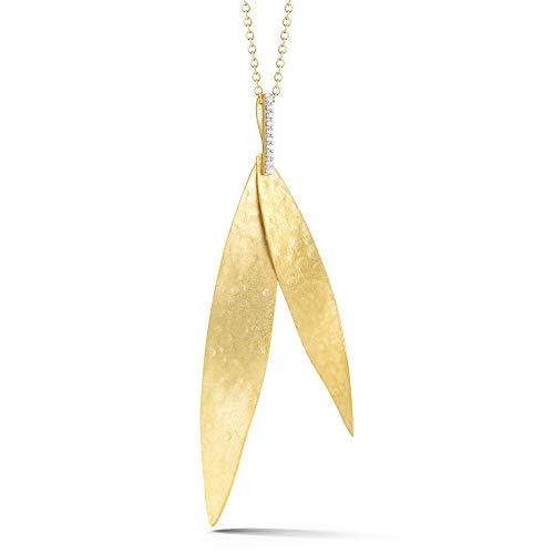 14K Yellow Gold 0.06ct TDW Diamond Accent Stacked Leaf-shape Pendant Necklace (0.06 Ct Tdw Diamond)