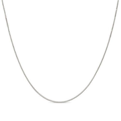 Kezef Collar - Cadena de Eslabón Cuadrado de 1 mm – Fina Plata De Ley 925 – Medidas de 35,6 cm a 1 m