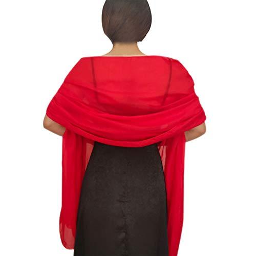 YO-HAPPY Mantón de Mujer, 200x70cm Gasa para Mujer Bufanda Grande Transparente Capa de Boda Vintage Color sólido Vestido de Noche de Dama de Honor Protector Solar Abrigo Largo del mantón