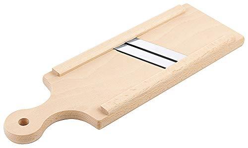 Gurkenhobel aus naturbelassenem Holz - mit Klingen aus gehärtetem Edelstahl/Abm.: 41 x 14 cm | ERK
