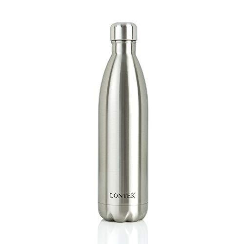 UMAY LONTEK Botella Agua Acero Inoxidable 750ml Aislada al Vacío de Doble Pared, Botella Termica Sin BPA para Mantener 20 Horas de Bebida Caliente y 24 Horas de Bebida Fría, Plateado
