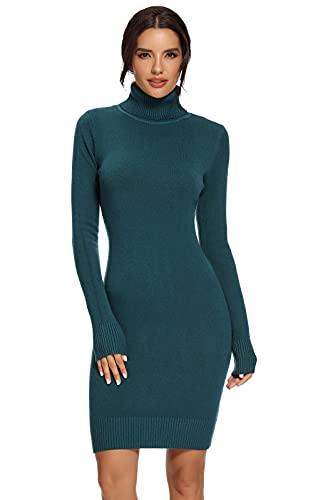 AVACOO Damen Kleider Strick Pulloverkleid Elegant Strickkleid Rollkragen Langarm Tunika Kleid Midikleid Türkis L 40