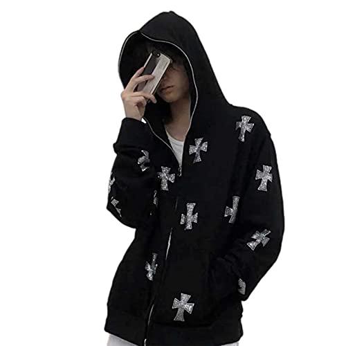 PDYLZWZY Y2K - Sudadera con capucha para mujer, diseño gótico con brillantes y esqueleto, c, S