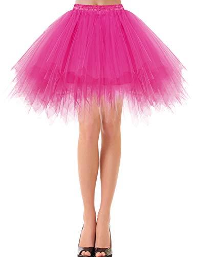 Bbonlinedress Petticoat Tutu Tüllrock Unterrock Rock 50er Vintage Ballet Blase Tanzrock Tanzkleid Ballkleid Kurz Retro Fuschia XL