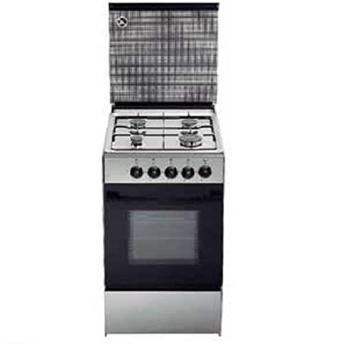 Cocina a gas Jocel JFG4 INOX 007292, 4 fuegos, horno 60 litros, mesa de trabajo inox