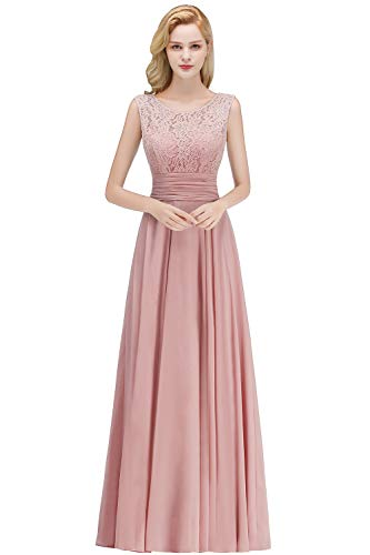 Babyonlinedress 2019 Elegant Ärmellos Festliches Kleid Langes Abendkleid Brautjungfernkleid Ballkleid, Altrosa, 38