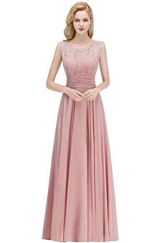 Babyonlinedress® 2019 Damen Spitze Tanzkleid Partykleid Prom Dress Chiffon Brautkleid Hochzeitskleid Altrosa 40