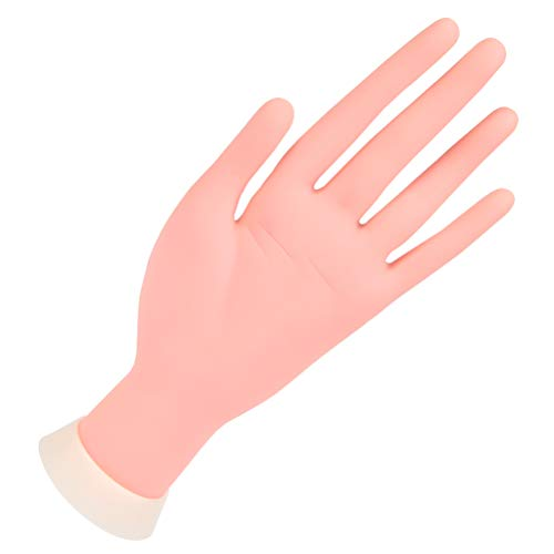 YANSHON Modelo de Práctica de Uñas de Silicona, Mano de Entrenamiento con Soporte, Mano Artificial Flexible y Suave para Entrenamiento de Principiantes de Manicura/Uñas, Color Carne