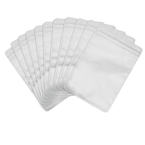Rimiko 50 Stück Druckverschlussbeutel Zip Folien Mylar Flachbeutel Undurchsichtig, Wiederverschließbare Geruchssichere Tasche mit Klebeetikett zur Aufbewahrung von Lebensmitteln (Weiß, 7x10cm)