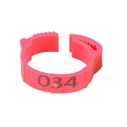 1-100 Numbers Chicken Foot Rings, Adjustable Chicken Feet Ring, Bird Rings Leg Bands, Foot Ring Labels for Farms, for Pigeon Chicks Bantam Chicken (Color Pink)