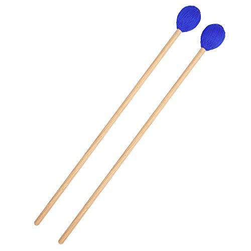 Iycorish 1 Paio di Mazze Marimba Bacchette per Percussioni Bacchette Filato Medio Duro Testa Rossa per Strumenti A Percussione Accessori per Batteria