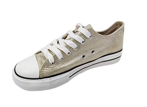 Zapatillas Mujer Plataforma Deportivas Canvas de Lona Sin Marca Ni Logotipos con Suela Doble 3.5cm, Dorado T.40