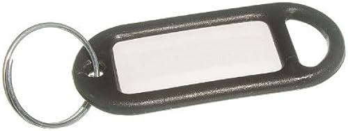 2000 X Key Ring Tag 50Mm x 20mm mit Label und Split Key Ring Schwarz