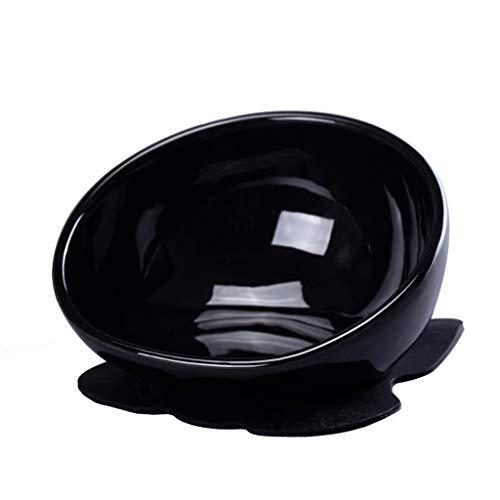 Bulldog kom huisdier keramische pot geschikt voor kleine en middelgrote honden kom vangen en perfecte eettafel (zwart)