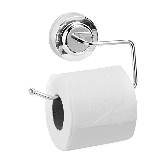 Soporte de rollo de papel higiénico con ventosa | Soporte para papel higiénico sin perforaciones | Gancho de rollo de papel de succión | Accesorios de baño cromados | M&W
