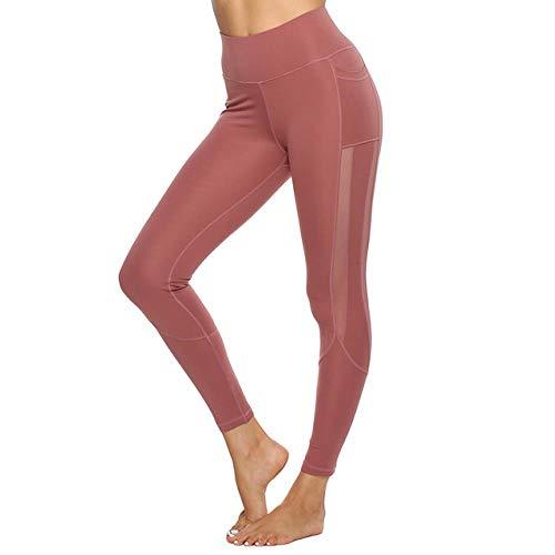 Skinny yoga broek Naadloze Leggings Side Mesh Yoga Broek Met Pocket Vrouwen Atletische Broek Gym Workout Panty Leggings Sport Vrouwen Fitness-in Yoga Broek, rood, M