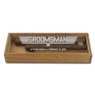 Custom Three Cigar Acrylic Groomsman Gift Box, Groomsmen Top Gun