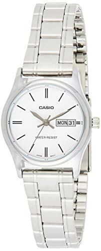 Casio LTP-V006D-7B2 Women's Standard Stainless Steel White Dial Day Date Watch