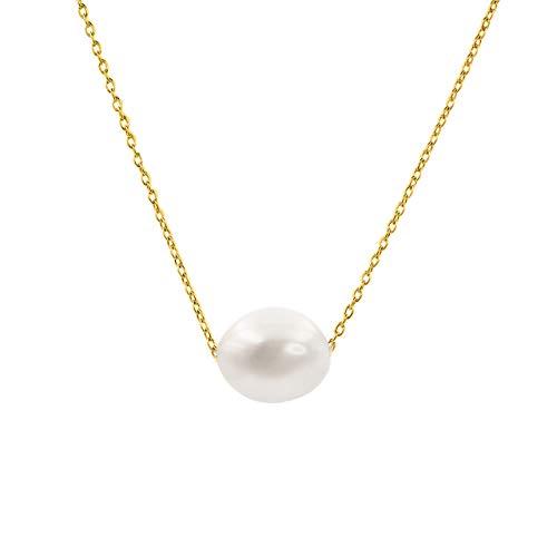 Secret & You Collar de Mujer Perlas Cultivadas Barrocas de 10-11 mm de Agua Dulce - Cadena y Colgante de Plata de Ley de 925 Bañada en Oro de 18k 38 a 45 cm de Largo.