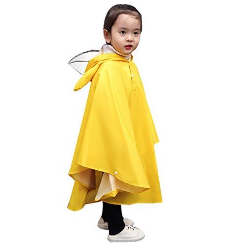 Dokin Kinder Wasserdicht Regenmantel Regenponcho Regencape - Mädchen Regenjacke mit Kapuze Einteilige Regenanzüge Wiederverwendbare Regenkleidung für Fahrrad Wandern Schule