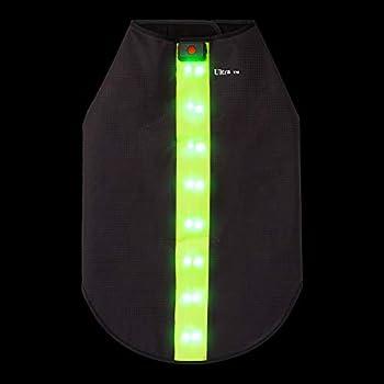 Moyen Vert Veste de Sécurité avec Bandes Réfléchissantes LED pour Chiens Safe Gilet de Sécurité LED Blouson Chien Gilet de Haute Visibilité Veste Impermeable Chien Gilet LED Clignotant