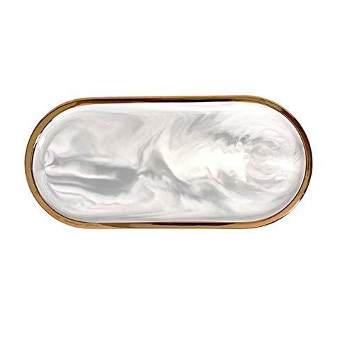 MengCat Marbre Céramique Plaque Ovale, Plat à bagues...