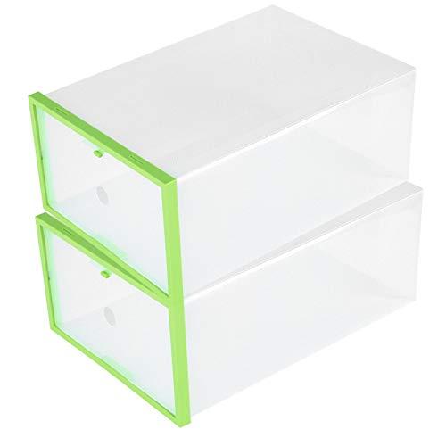 JYLSYMJa Custodia per Scarpe, scatole di plastica impilabili Cassettiera Pieghevole in plastica Trasparente per cassetti a smontaggio rapido per Libri, Articoli Vari, Cibo(Verde)
