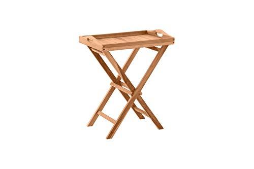 Möbilia - Mesa auxiliar para jardín (60 x 40 cm, madera de teca, 60 x 40 x 65 cm), color natural