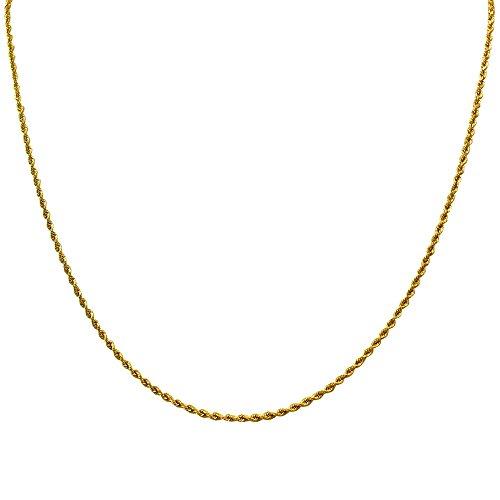 Collar cadena pulsera tobillera Tipo Corde Cordon de fina plata de ley 925 bañada en oro 14kt 1mm Bisutería Italiano Mujer Hombre - 15 20 25 30 35 40 45 50 55 60 65 70 75 80 85 90 95 100cm