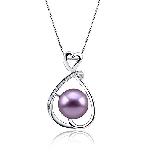 Infinity Love Edison Freshwater Cultured Pearl Pendant with 925 Sterling Silver Pendant 18 Inches Necklace, Pendant Necklace for women