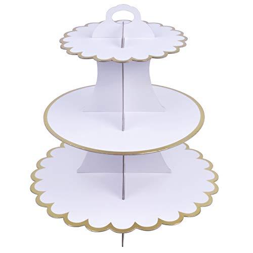 Chstarina Soportes de Cartulina para Tartas de 3 Pisos,Soporte para Cupcakes 3-Tier Cartón Cupcake Stand Redondo Soporte Postre Soporte de Magdalenas de Cartón Caramelos Soporte para Dessert (Blanco)