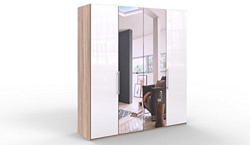 WIEMANN Loft Kleiderschrank, Schlafzimmerschrank, Gleittürenschrank, Drehtürenschrank, mit Spiegel, Glas weiß, Eiche-sägerau, Holz, B/H/T 200 x 216 x 58 cm