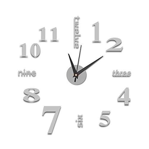 HelloCreate, orologio da parete 3D fai da te, per la casa, il soggiorno, la camera dei bambini, l'ufficio, l'acrilico specchio decorativo da parete