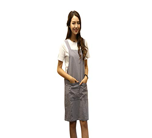 Japanese Style Apron, X Cross Back Strap Aprons, No Tie Design Linen and Cotton Blend Apron with Two Practical Front Pockets,Perfect for Baking Painting Gardening Cleaning,Womens Gifts (Light Gray)