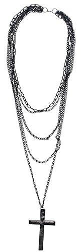 Big Bargain - Collana con ciondolo a forma di croce in metallo a più fili in stile retrò