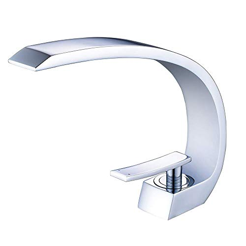 Wovier Grifo de lavabo con manguera de entrada, diseño único, monomando, grifo monomando